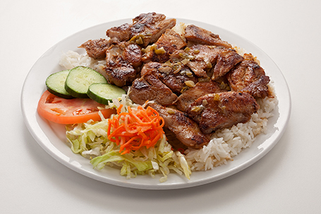 Grilled chicken with rice available at Lan Vietnamese Express in Parksville, BC
